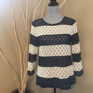 The Limited lace striped navy and cream top size M